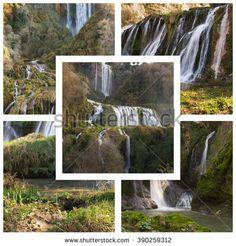 Collage with cascata delle marmore in Umbria.