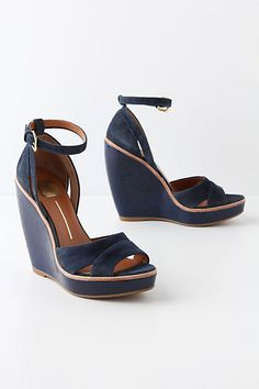 NAVY!! Glossed Groundwork Wedges  #anthropologie