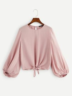 Shop Keyhole Back Lantern Sleeve Knot Hem Top online. SHEIN offers Keyhole Back Lantern Sleeve Knot Hem Top & more to fit your fashionable needs. Teen Fashion Outfits, Trendy Outfits, Girl Fashion, Girl Outfits, Fashion Dresses, Cute Outfits, Fashion Design, Fashion Tips, Muslim Fashion