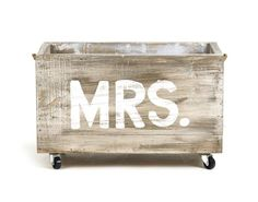 "Wedding gift idea for the Bride. Small Cart ""Mrs.""