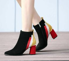 New Arrival Mixed Colors Ankle Boots With Thick Heels 8bc5b0dc92c9