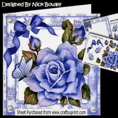 Pretty painted blue rose with butterflies and bow 8x8 kit on Craftsuprint - Add To Basket!