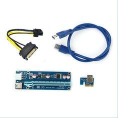 USB 3.0 PCI-E 1x to 16x Powered Extender Riser SATA Adapter Card V008S 60 CM