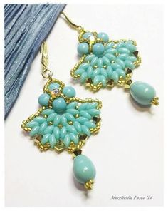 Ventaglio Earring tutorial with superduo delica beads and swarovski by wanting