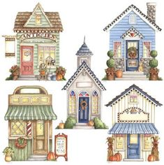 Painting ideas for birdhouses House Illustration, Illustrations, Paper Art, Paper Crafts, Pintura Country, Ideias Diy, House Quilts, Putz Houses, House Drawing