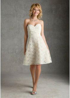 Strapless Sweetheart neckline lace zipper short bridesmaid dress
