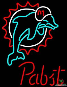 Pabst Blue Ribbon Miami Dolphins Neon Sign NFL Teams Neon Light