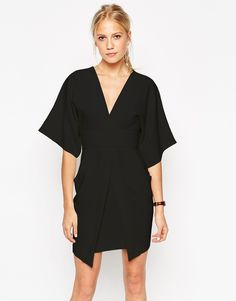 ASOS COLLECTION ASOS Mini Asymmetric Pocket Dress with Kimono Sleeves