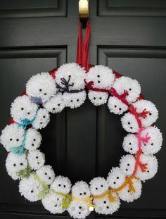 pompom snowman wreath