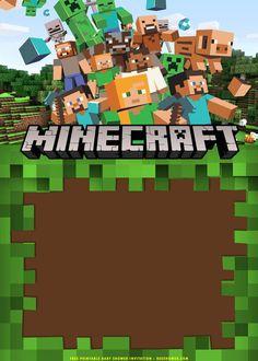 Minecraft Party Invitations, Minecraft Birthday Invitations, Birthday Invitation Templates, Minecraft Baby, Minecraft Clipart, Minecraft Printable, Minecraft Templates, Minecraft Logo, Minecraft Crafts