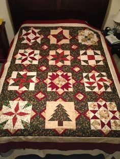 Neighborhood Quilt Club: Christmas Quilt Top Done Quilting Tutorials, Quilting Projects, Colchas Country, Quilted Gifts, Winter Quilts, Sampler Quilts, Quilt Binding, Barn Quilts, Quilt Top