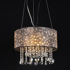 Warehouse of Tiffany Claire 4 Light Crystal Chandelier Crystal Pendant Lighting, 3 Light Chandelier, Drum Pendant, Crystal Chandeliers, Hanging Light Bulbs, I Love Lamp, Room Lights, Fabric Shades, Drum Shade