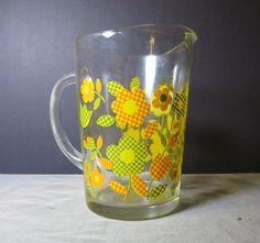 Retro Art Deco Checkered Daisy Tulip Floral Pitcher Barware Vintage Yellow Green Orange Kitchen Serving Water Ice Punch Bar Juice Tea by NewOxfordVintage on Etsy