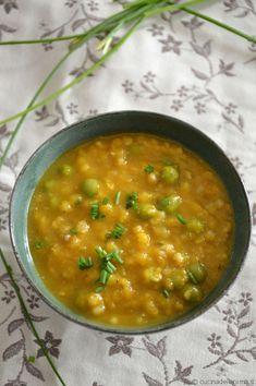 Zuppa di grano saraceno, amaranto e piselli