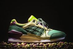 "ASICS x 24 Kilates ""Virgen Extra"" GEL-Respector As a part of their 10-year anniversary program, 24 Kilates have teamed up with ASICS for a special release of the ever-popular GEL-Respector. Dubbed the ""Virgen Extra,"" the sneaker draws inspiration from Spain's renowned Extra Virgen Olive Oil. Additional features exclusive to this model are a metallic olive leaf hang tag and even a bottle of premium extra virgin olive oil packaged within a burlap sack."