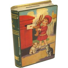 1950's Chad Valley English Book Toffee Tin Bank, MY OWN Vintage Tins, Vintage Children's Books, Vintage Cards, Primitive Living Room, Tin Containers, English Book, Tin Toys, Baby Animals, Vintage Antiques
