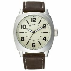 Men's Merona庐 Eggshell Dial Brown Strap Analog Watch - Brown - another cool watch for cheap