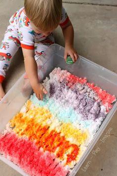 Kool Aid and shaving cream sensory play for kids