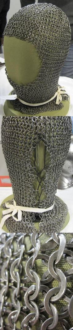 """European riveted mail coif, detail view, believed to be genuine, preserved in the Royal Scottish Museum, Edinburgh. A comparison has been made with one of the coifs from Korsbetningen which was cleaned in 1983 and where the pattern of the rings can be determined. Similarities in the construction and distribution of the """"idle rings"""" support the opinion that the """"Edinburgh coif"""" is an original mail coif from the l3th or l4th century. A4."""