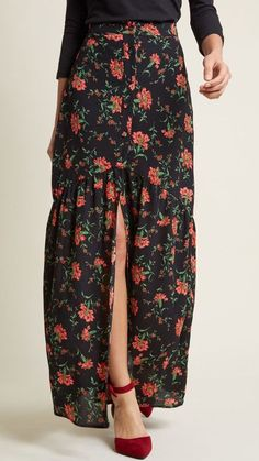 Emphasis on Effortless Buttoned Maxi Skirt #sponsored