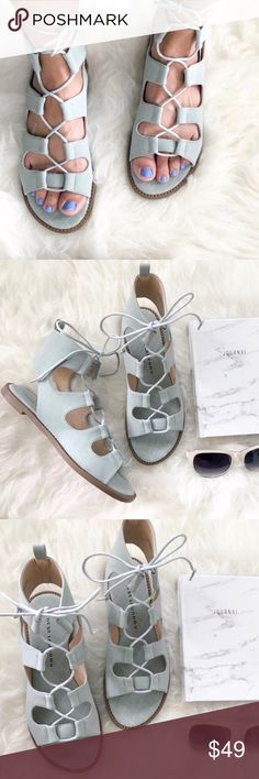 chinese laundry • seafoam gladiator sandals * brand: chinese laundry * gladiator sandals * seafoam nubuck * man made upper; lace up closure  * cut out heel * cute stitching on footbed * size: 7.5; could fit an 8 also New with box; box may have sticker residue Chinese Laundry Shoes Sandals