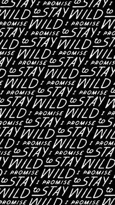 To Resolve Project: I promise to stay wild. Illustrated text pattern designed by Dan Cassaro