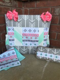 Mint and Coral Aztec Diaper Bag Set by ilovekinleyskloset on Etsy