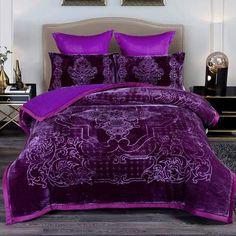 Purple Rooms, Purple Bedroom Decor, Purple Bedding Sets, Fluffy Bedding, Warm Blankets, King Beds, My New Room, Bed Design, Bed Spreads