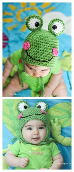 20 Adorable Frog Hat Free Knitting Crochet Patterns – There are so many distinct enjoyable things to crochet! Crochet Frog, Crochet Kids Hats, Crochet Beanie, Crochet Crafts, Crochet Toys, Free Crochet, Knitted Hats, Knit Crochet, Knitting Projects
