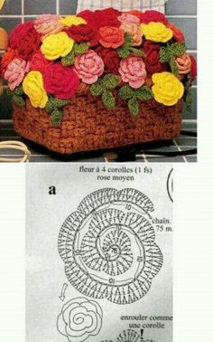 Crochet Flowers Design Crochet rose chart pattern - Visit the post for more. Crochet Puff Flower, Crochet Flower Tutorial, Crochet Leaves, Knitted Flowers, Crochet Flower Patterns, Love Crochet, Irish Crochet, Diy Crochet, Crochet Designs