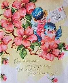 Vintage bluebird get well card