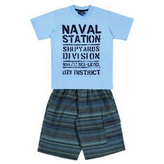 "Conj. Camiseta ½ Malha- Bermuda Kanvas Listrada c/ Bolso Lateral Estampa ""NAVAL STATION"" Tamanhos: 04 ao 16"