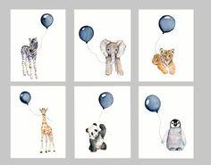 Nursery print set, set of six, Navy nursery, boys wall art, baby boy nursery, watercolor nursery, baby animal art
