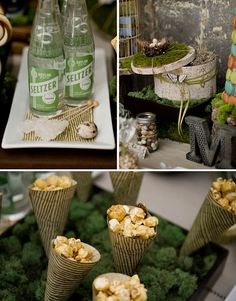 Woodsy Wedding theme. Another close up of desert table. I really like the hat box in the back.