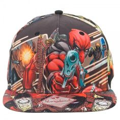 Marvel Comics Deadpool Sublimated All Over Print Snap Back Baseball Cap Hat #MarvelComics #BaseballCap