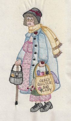 BOM embroidery pattern. Mathilda Bag Lady #9 Embroidery Pattern CDH-328 by Chickadee Hollow - Carol L. Steffensen.  Check our more of our embroidery patterns. https://www.pinterest.com/quiltwomancom/embroidery-patterns/  Subscribe to our mailing list for updates on new patterns and sales! http://visitor.constantcontact.com/manage/optin?v=001nInsvTYVCuDEFMt6NnF5AZm5OdNtzij2ua4k-qgFIzX6B22GyGeBWSrTG2Of_W0RDlB-QaVpNqTrhbz9y39jbLrD2dlEPkoHf_P3E6E5nBNVQNAEUs-xVA%3D%3D