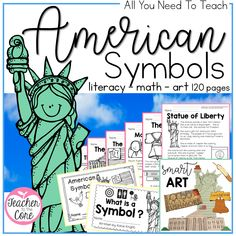 Science Symbols Common Cores - American Symbols BUNDLE Informational Reading, Art, and so much Reading Art, Reading Skills, What Are Symbols, Science Symbols, American Symbols, American Flag, American History, Graphing Activities, 2nd Grade Reading