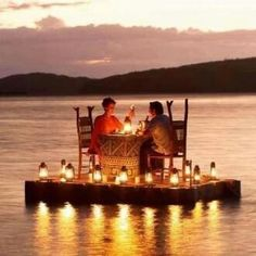 Quite the romantic dinner, floating on water with some candlelight :)