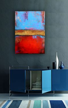 Original Painting Large Abstract. Erin Ashley art, via Etsy. (blue cabinet)
