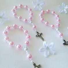 Pulseras de hermoso color rosa perla Mini Rosario de una