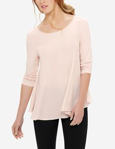 An elegantly flared silhouette flatters your figure with plenty of fashion forward personality. Classic Style, My Style, Swing Top, Stylish Outfits, Fashion Forward, Tunic Tops, Clean Slate, Clothes, Kleding