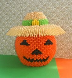 3d Origami Halloween pumpkin Paper pumpkin by QuillingLife on Etsy