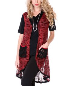 Look at this Red Crochet Duster on #zulily today!