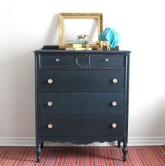 Midnight Blue Talboy Painted with Milk Paint Redo Furniture, Decor, Tallboy Dresser, Blue Furniture, Staining Wood, Black Painted Furniture, Dresser As Nightstand, Find Furniture, Blue Furniture Inspiration