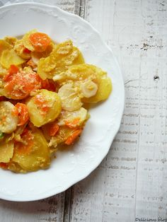 zapečené smetanové brambory s kořenovou zeleninou