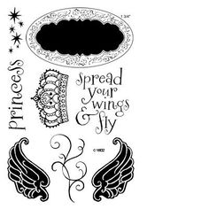 """Close to My Heart My Acrylix Stamp Set Princess Wings  Set of 8  Recommended My Acrylix® Blocks:  1"""" × 3½"""" (Y1002), 2"""" × 2"""" (Y1003), 3"""" × 3"""" (Y1006)    Stamp images outlined in red coordinate with the Cricut® Art Philosophy collection (Z1686).    $13.95"""