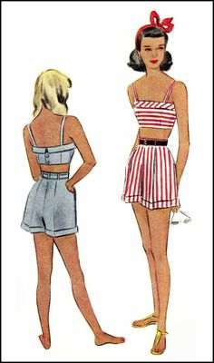1948 Girl's shorts and crop-top McCall  pattern