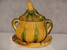 Fabulous antique french MAJOLICA TUREEN  PLATE & LADDLE 19th c.
