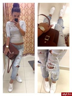 Spring preppy Outfit distress light jeans, white sneahers and stipes 3/4 lenght tshirt