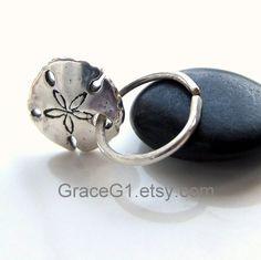 sea shell tragus piercing jewelry | ... seashell earring, starfish earring, 8mm one silver hoop with seashell